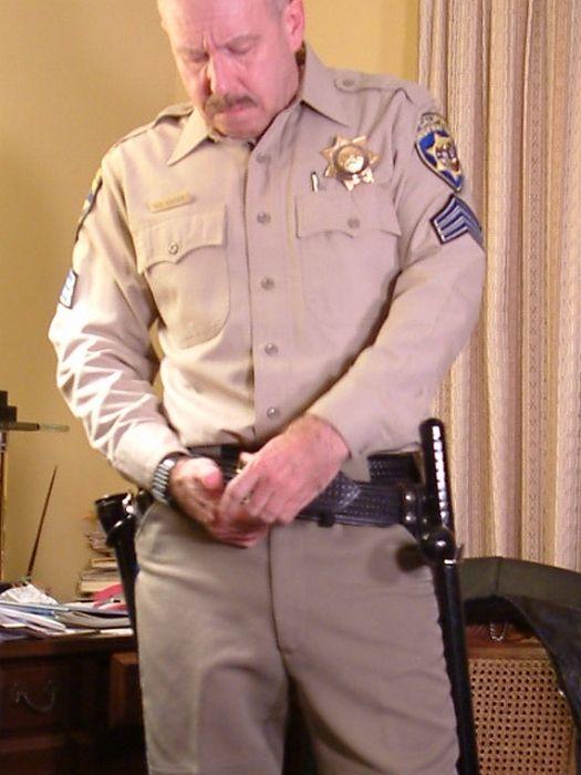 older gay cop office uniform