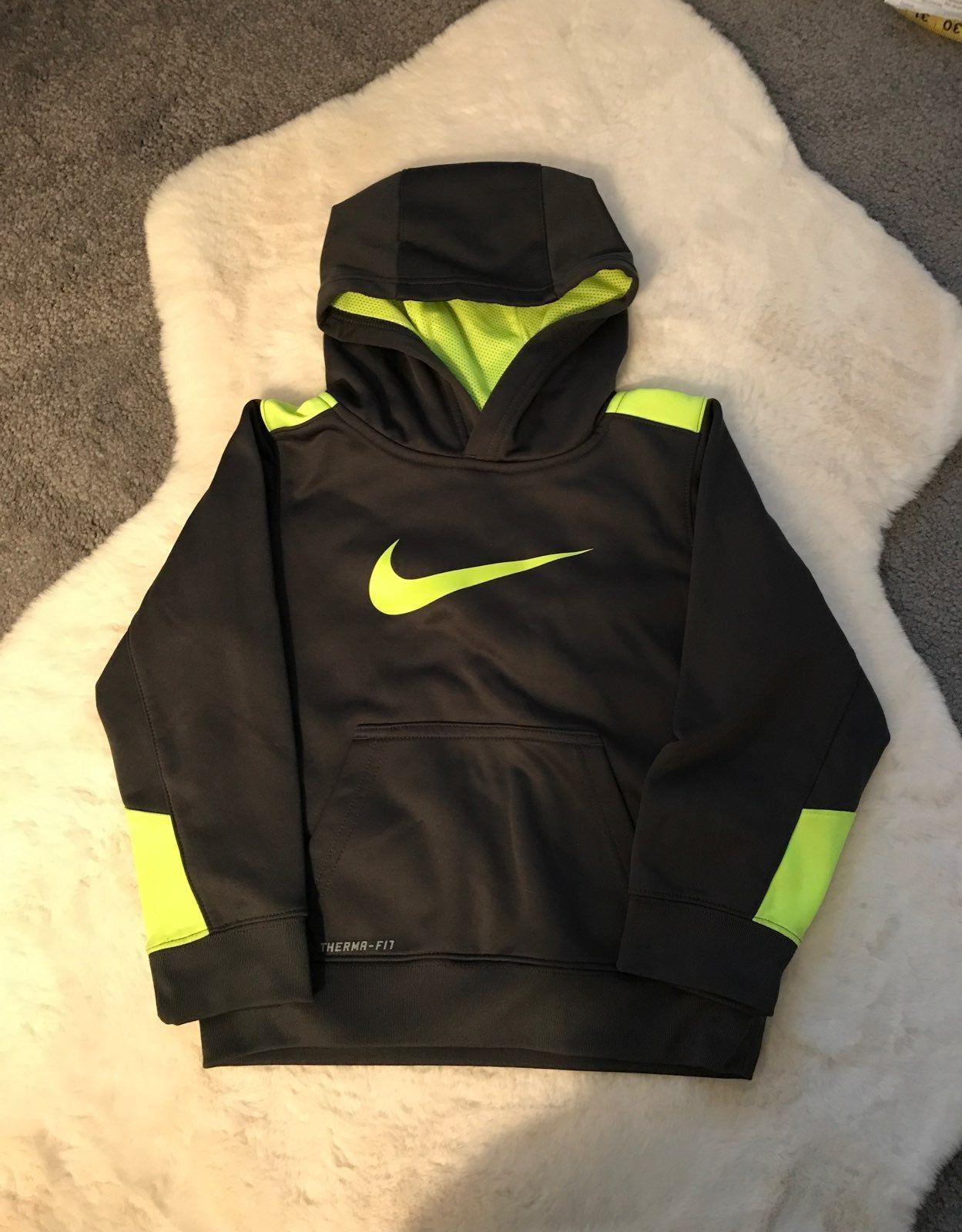 Boys Size 6 Nike Therma Fit Hooded Sweatshirt Dark Gray With Bright Yellow Smoke Free Home Nike Sweatshirts Nike Hoodie [ 1600 x 1249 Pixel ]