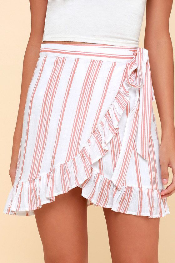 659f5d6c247d1 Lillie Peach Striped Ruffled Wrap Mini Skirt | for the love of ...