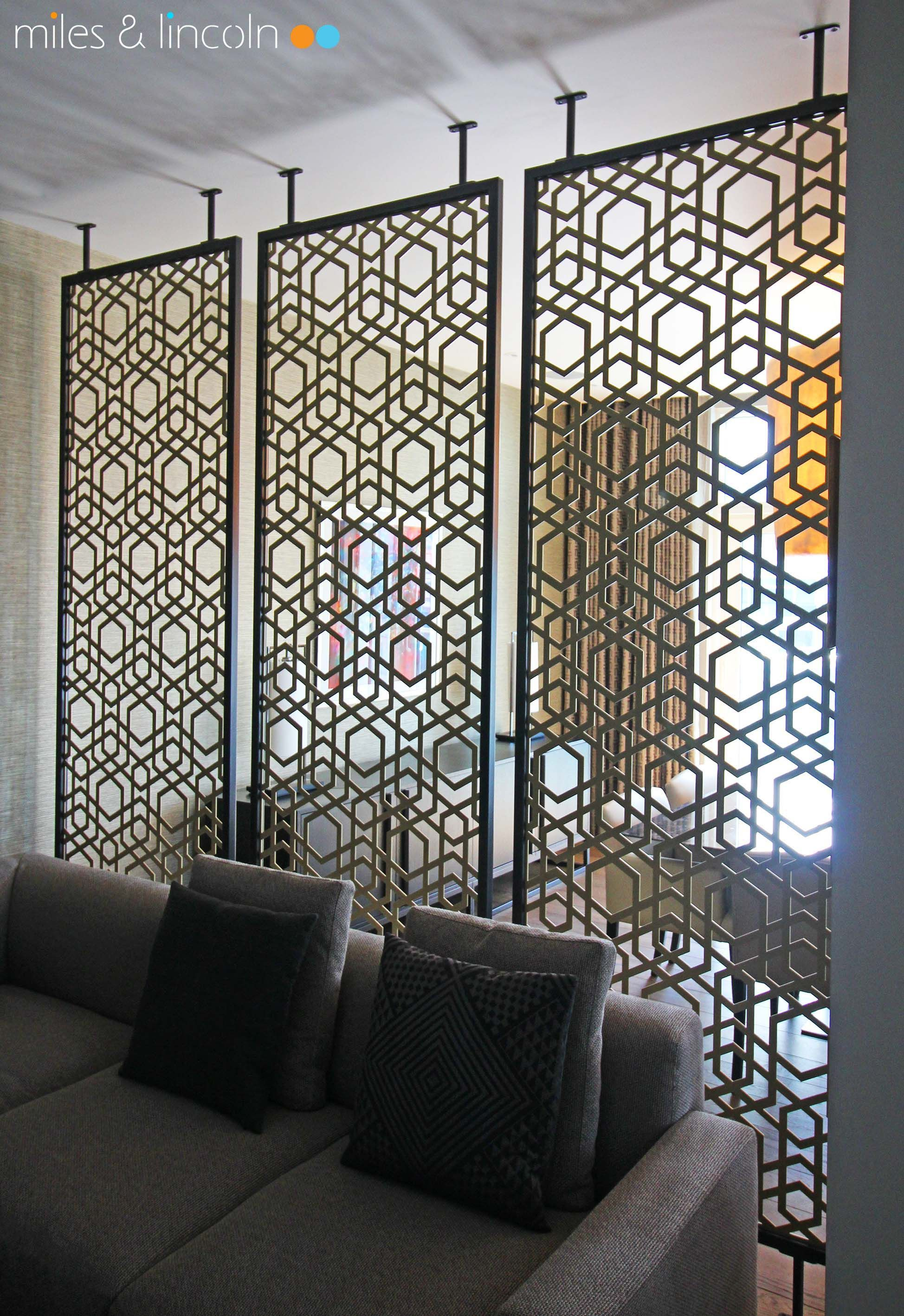 Laser cut screens - Room dividers, London - Yamuna design with framing by Miles and Lincoln. www.milesandlincoln.com