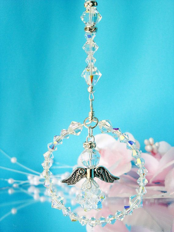 Guardian Angel Rear View Mirror Charm by CrystalBlueDesigns