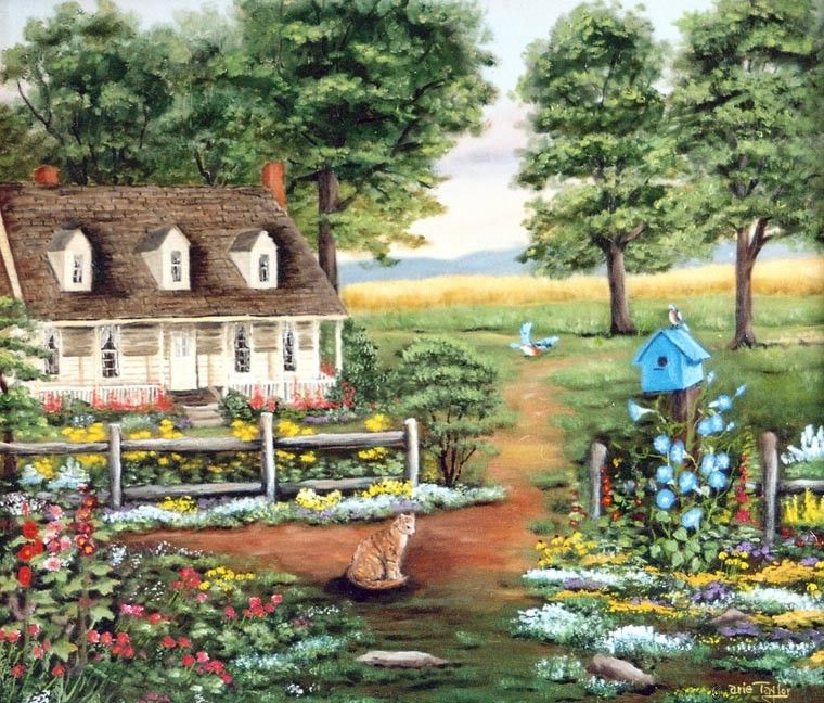 June Nesting Folk Art Print Summer Cottage Country Scene Arie Taylor Blue Bird House Yellow