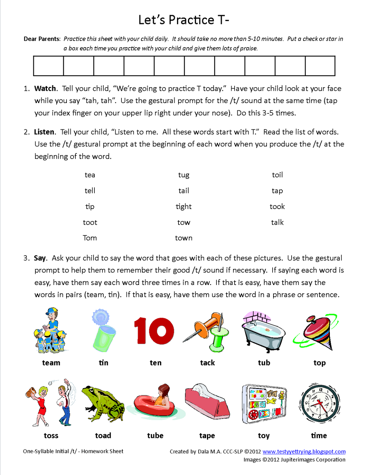 Initial T Speech Therapy Homework Sheet