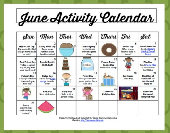 June Activity Calendar Daily Fun And Frugal Summer Ideas For Your