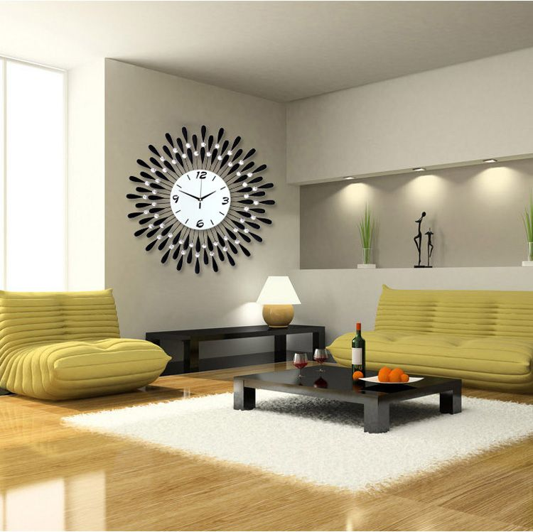 Large Diamond Luxury Living Room Wall Clock Iron European Modern Fashion  Creative Personality Mute Watches Black And White Great Ideas