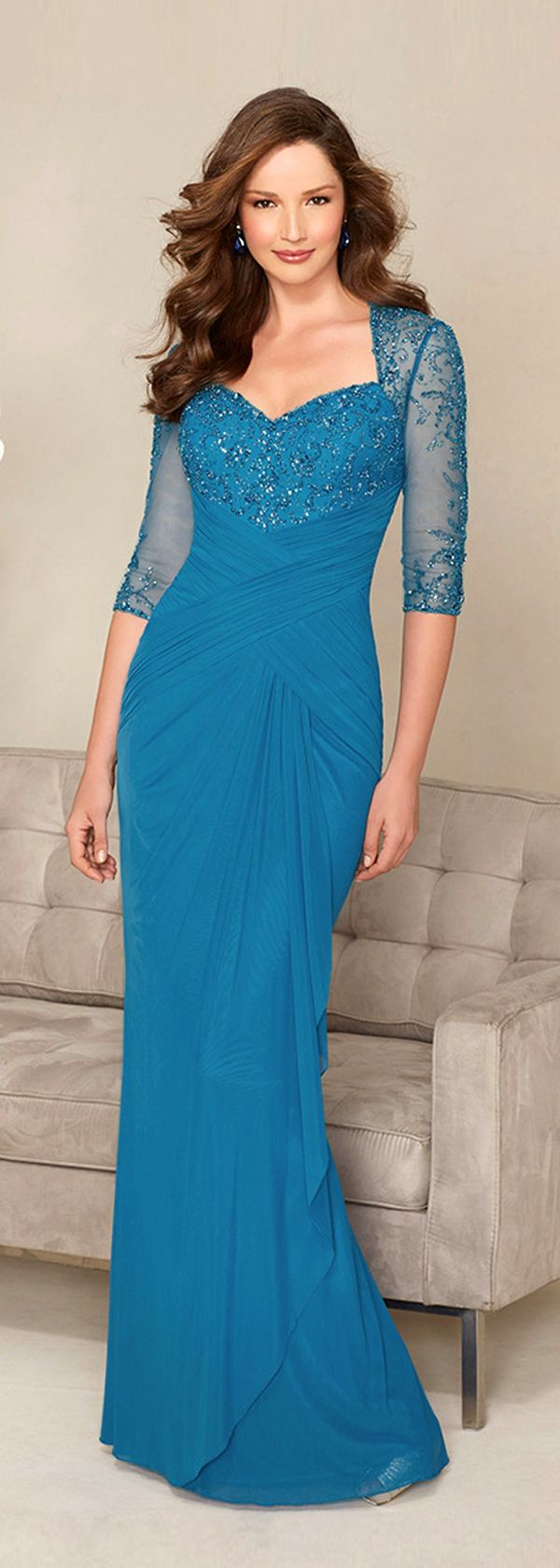 Chic Chiffon Queen Anne Neckline Floor-length Mother of the Bride ...
