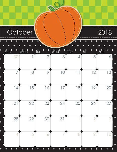 blank calendar for october 2018