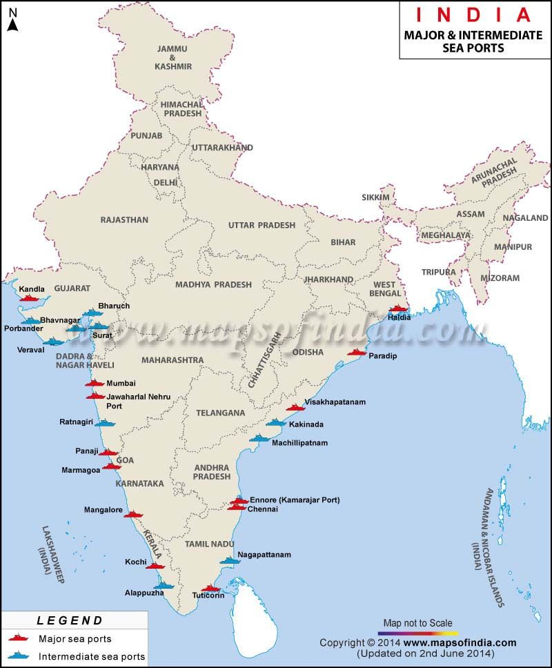 Map showing the location of major sea ports in India India - new ethiopian plateau on world map