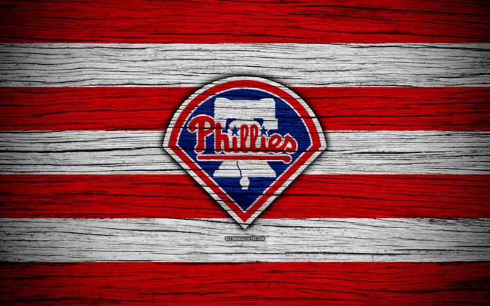 meet e24eb 74468 Download wallpapers Philadelphia Phillies, 4k, MLB, baseball, USA, Major  League Baseball, wooden texture, art, baseball club
