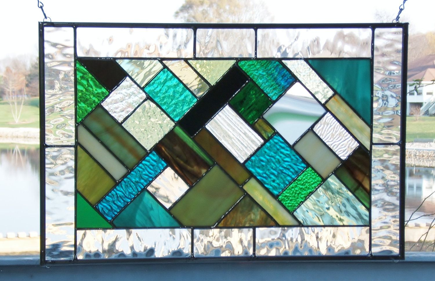 Green Stained Glass Panel Window Hanging Geometric Abstract