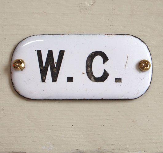 Bathroom Signs Vintage early-1900s enamel toilet door sign: w. c. | vintage bathroom