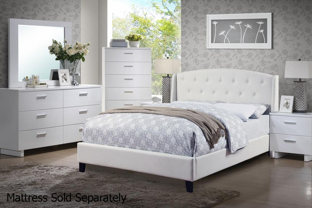 Poundex F9296q White Leather Queen Size Bed Steal A Sofa Furniture Outlet Los Angeles Ca Beautiful Bedroom Furniture Platform Bedroom Sets Bedroom Sets
