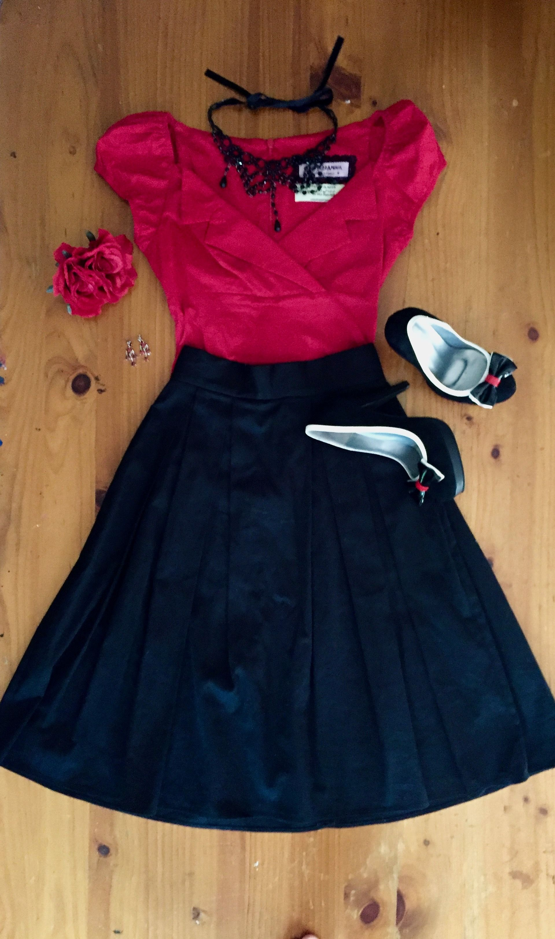 Red rose and black from kitten duamour with shoes of prey heels