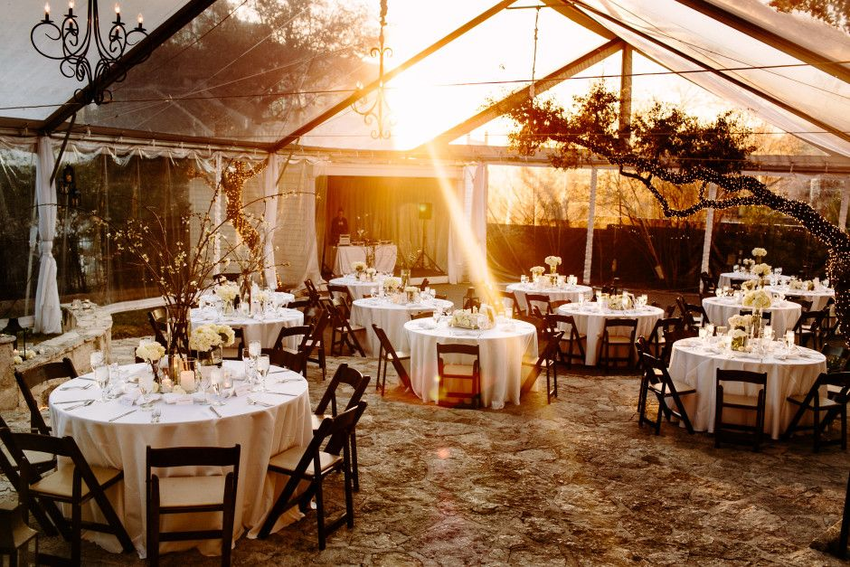 Allan House Austin Texas Wedding Venue Outdoor Tent With Table Decorations