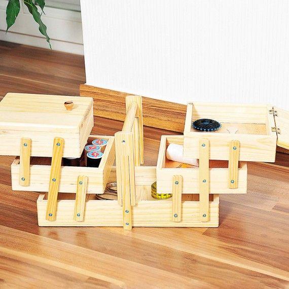 bo te couture en bois on range tout rangement loisirs cr atifs pinterest bo tes en. Black Bedroom Furniture Sets. Home Design Ideas