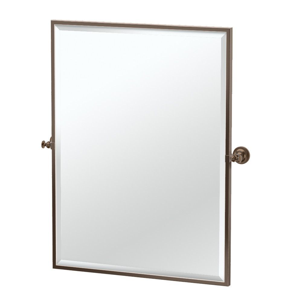 "Gatco Tavern Framed Rectangle Mirror from Wayfair - bronze finish; 32.5"" H x 28"" W x 3.13"" D"