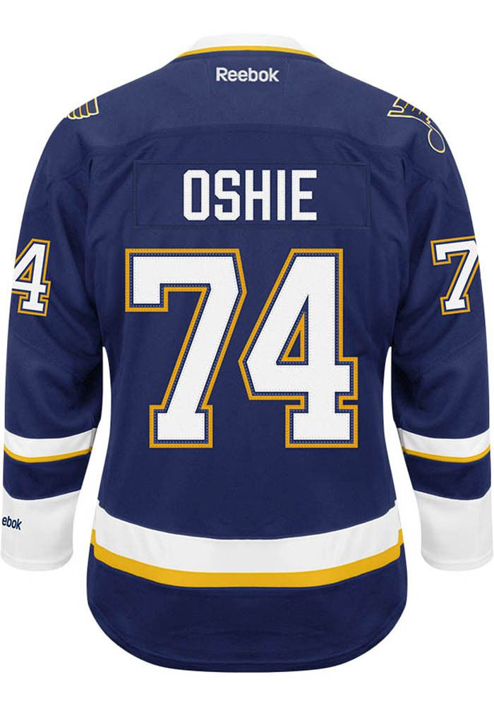 d91b6e89f T.J. Oshie 74 Mens Hockey Jersey - STL Navy Blue Center Ice Premier Jersey  http