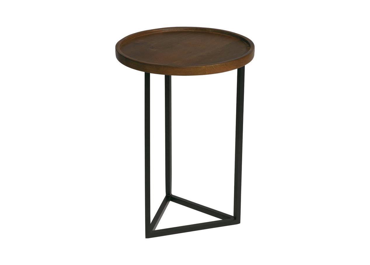 - Bolton Round Wood Accent Table Table, Wood, Walnut Stain