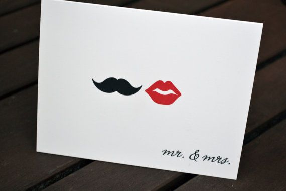 Couples Wedding Thank You Cards Red Lips and Mustache -$18.00