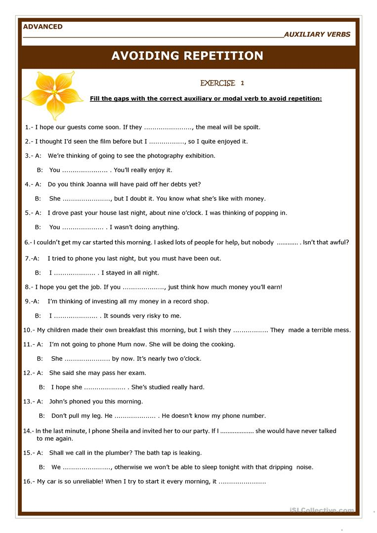 Avoiding Repetition English Esl Worksheets Helping Verbs Verb Worksheets Verb [ 1079 x 763 Pixel ]
