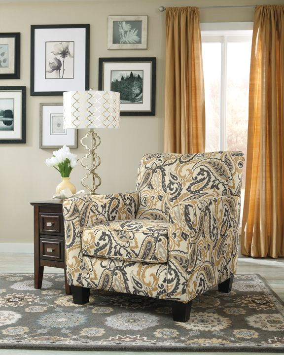 Gorgeous Paisley Print Accent Chair In Zinnia Desert From