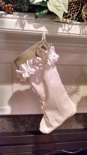 Burlap and ruffle stocking