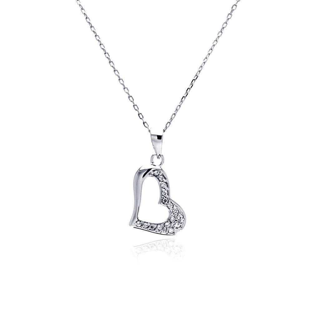 .925 Sterling Silver Rhodium Plated Open Heart Cubic Zirconia Necklace 18 Inches