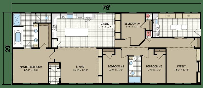 Grandeur N976 Built By Champion Homes In York Ne View The Floor Plan Of This 4 Bedroom 2 Bathroom Mult Mobile Home Floor Plans House Floor Plans Floor Plans