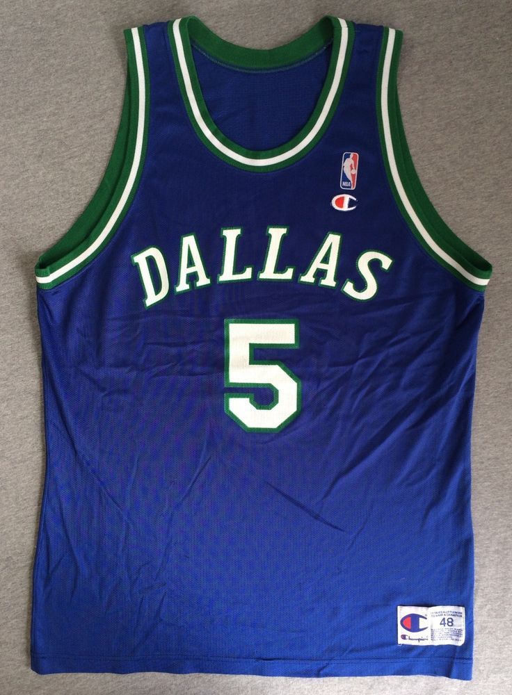 Vintage DALLAS MAVERICKS Jersey 90 s JASON KIDD  5 CHAMPION USA Made ... e1ac68aad
