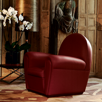 Rounded Shape Chair With Rows Of Leather Covered Nails   Vanity Fair. Order  This