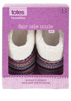 Slippers. I love these Totes Fair Isle Mule ones. | Hospital ...