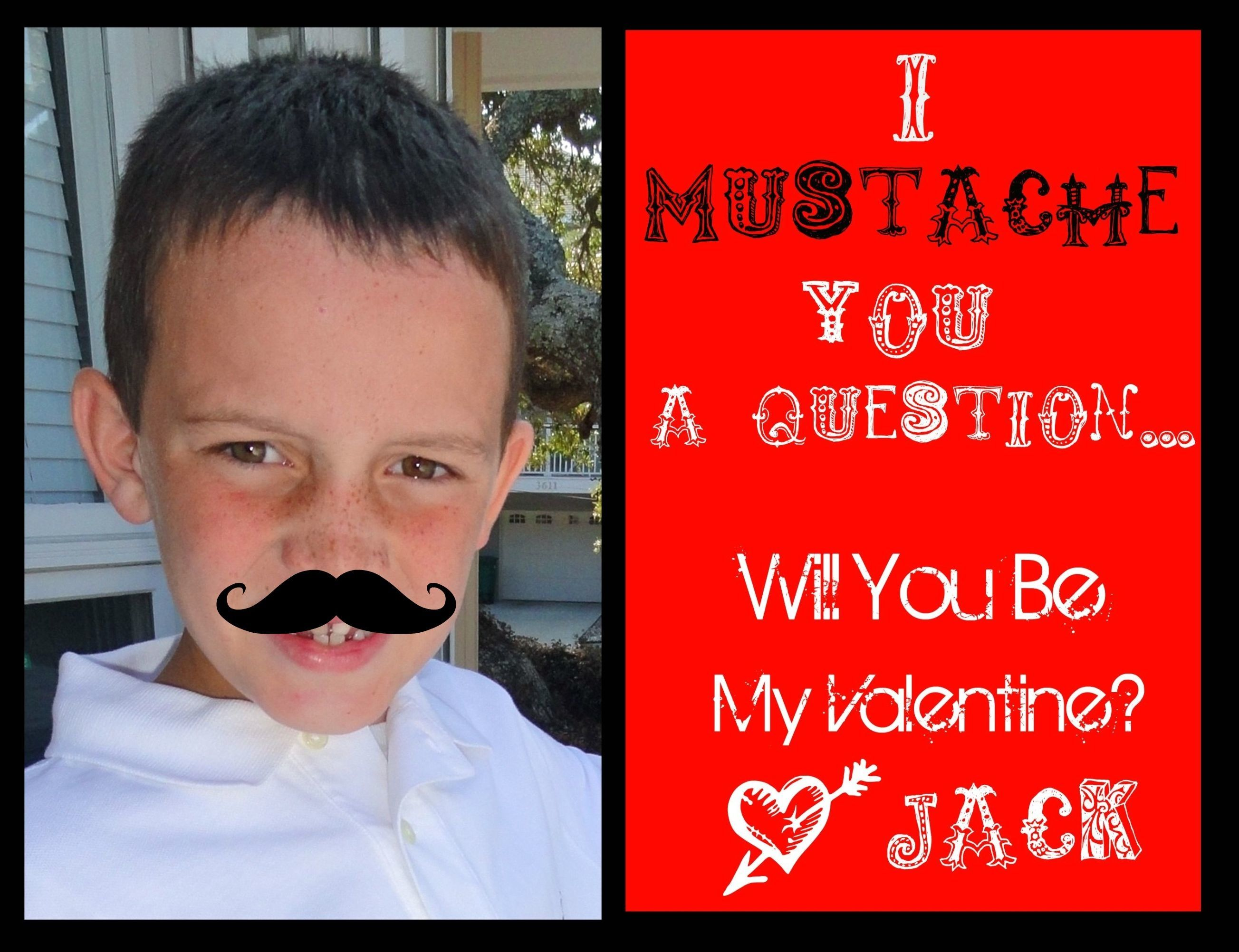 Jack's Mustache Valentines I made this morning. Thanks Pinterest!