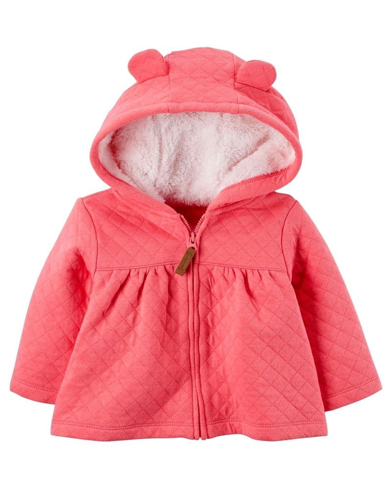 36bcfce445e6 CARTER S Sherpa Lined Quilted Bear Ears Hooded Zip Up Fall Summer ...