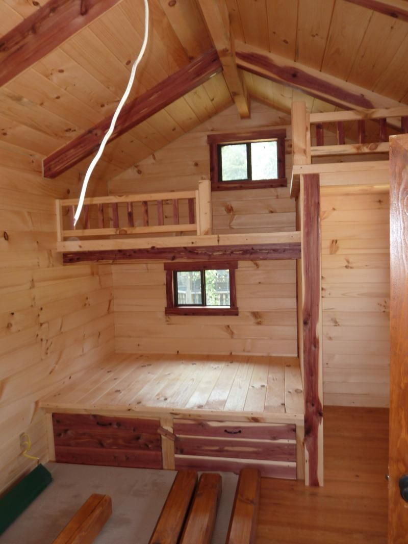 Trophy Amish Cabins Llc 10 X 20 Lodge No Porch Tiny House Cabin Tiny Cabins Interiors Small Cabin Interiors