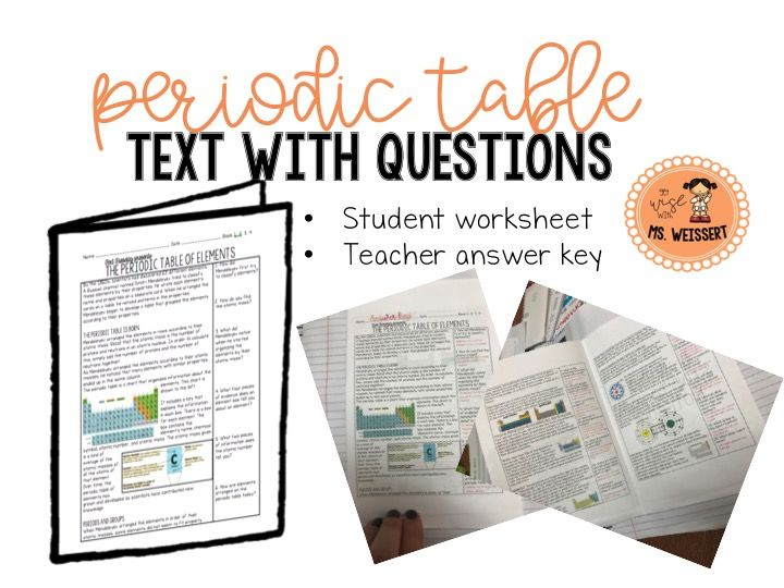 Periodic Table of Elements Guided Text with Questions Periodic - best of periodic table of elements handout