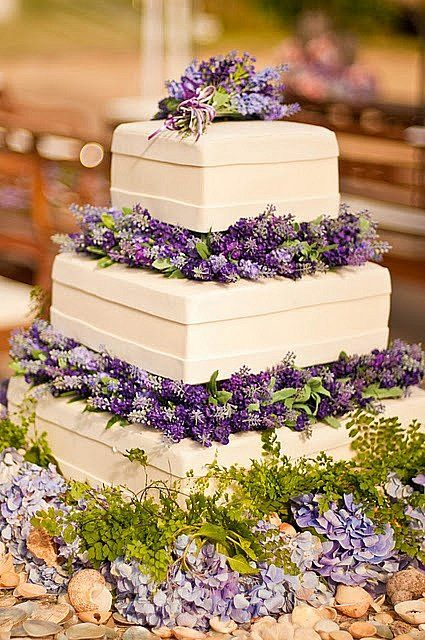 Elegant Lavender Wedding Cake--minus the fondant replace it with cream cheese frosting!