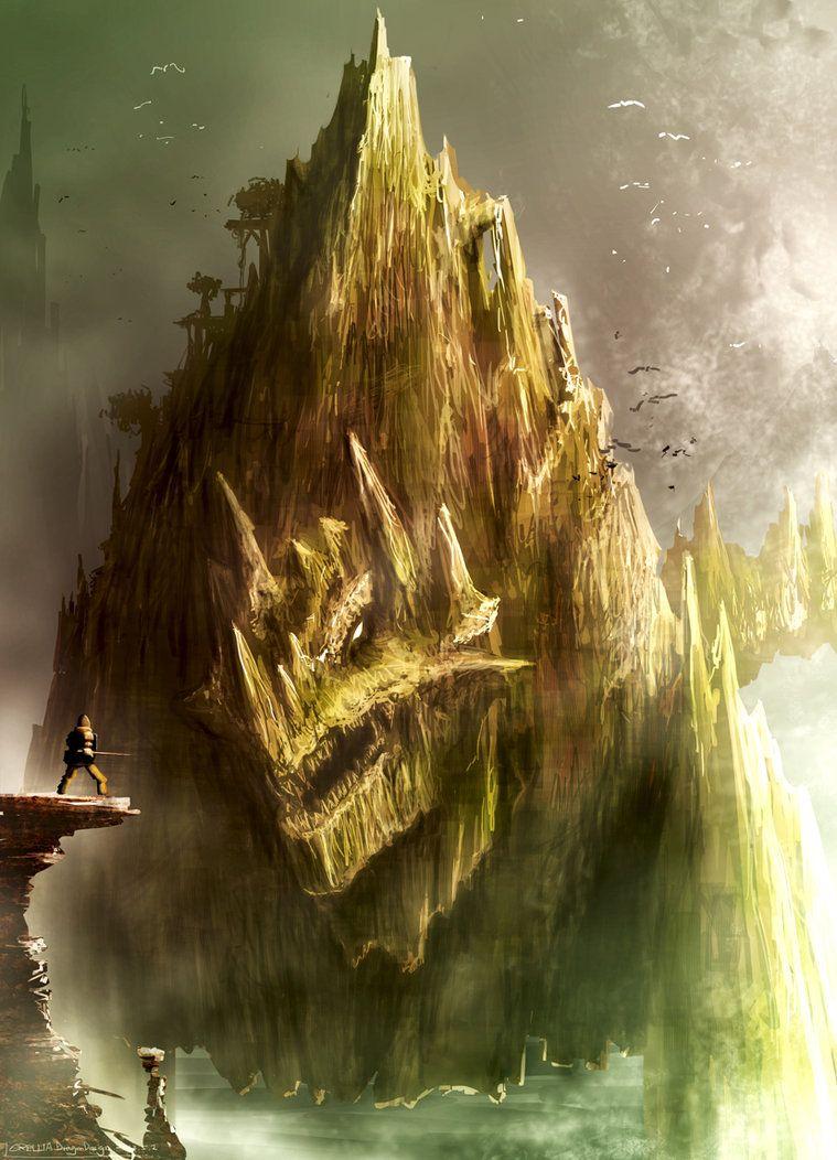 Dragon Mountain by crellia  http://crellia.deviantart.com/