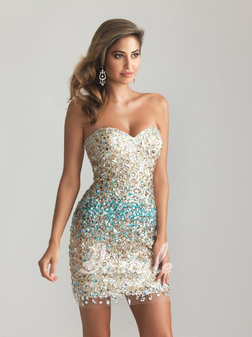 Sparkly Beaded Sequin Strapless Sweetheart Sheath Short Cocktail Prom Dress