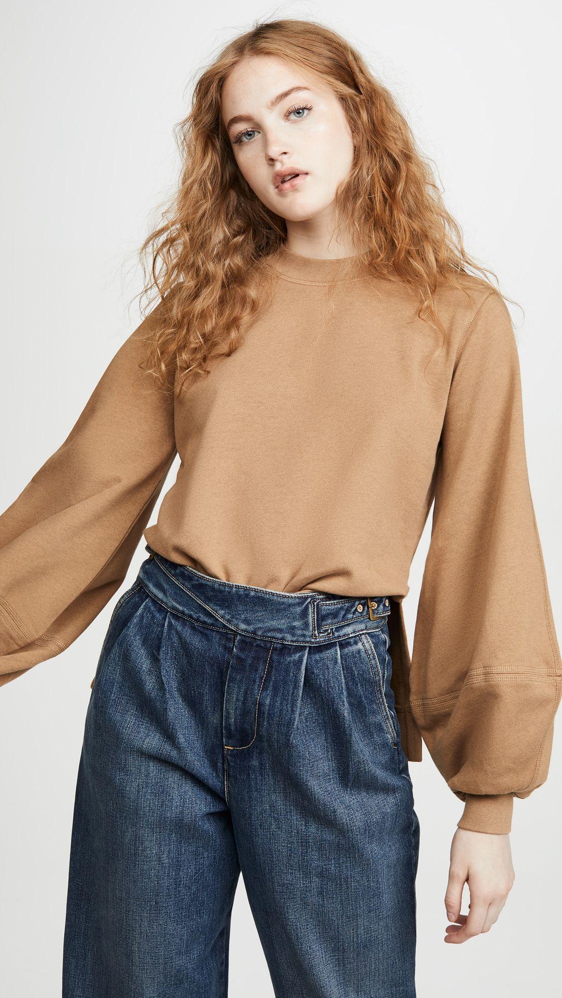 Ganni Isoli Sweatshirt Shopbop Black Friday Save 20 On Orders 200 Womens Tops Sweatshirts Elle Style Awards [ 2000 x 1128 Pixel ]
