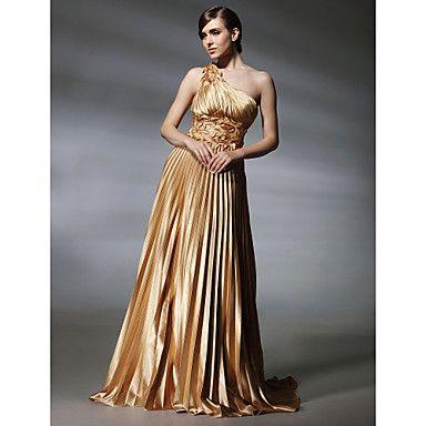 Vestido de Noite em Cetim Elástico com Cauda Sweep e Um Ombro – BRL R$ 239,76