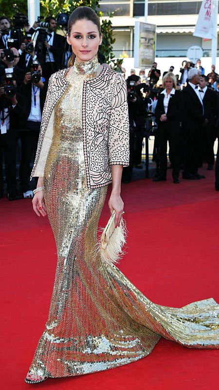 OLIVIA PALERMO IN ROBERTO CAVALLI, Cannes 2013 Palermo wore an opulent gold sequined Roberto Cavalli gown topped with a Zara blazer, creating a truly mesmerizing look.