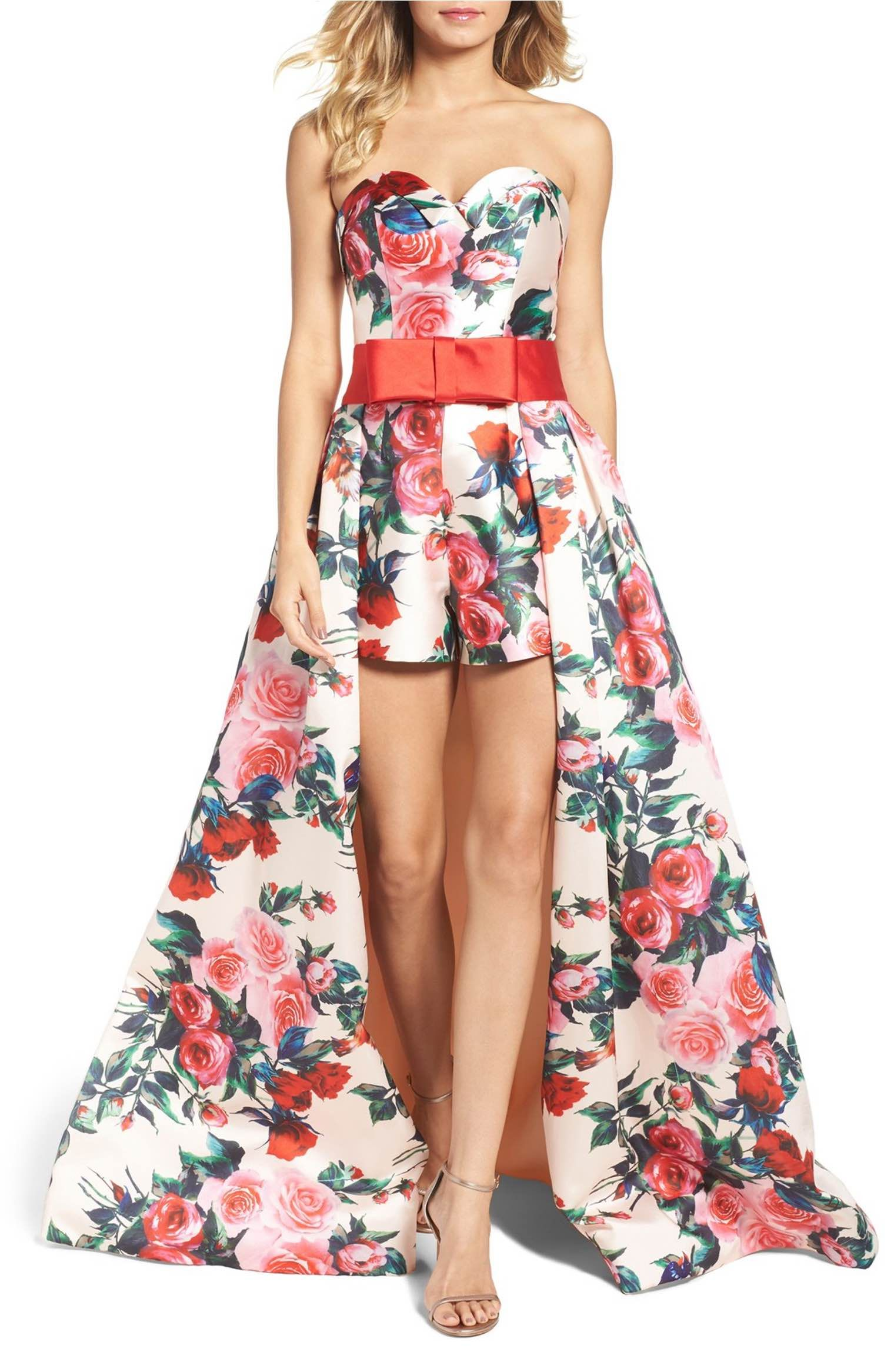 Main image mac duggal strapless romper with detachable ball skirt