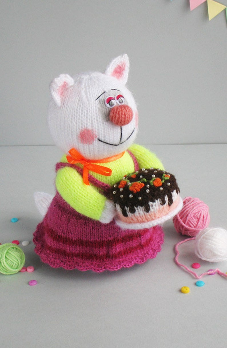 Knitted kitty with cake Funny cat toy Birthday gift