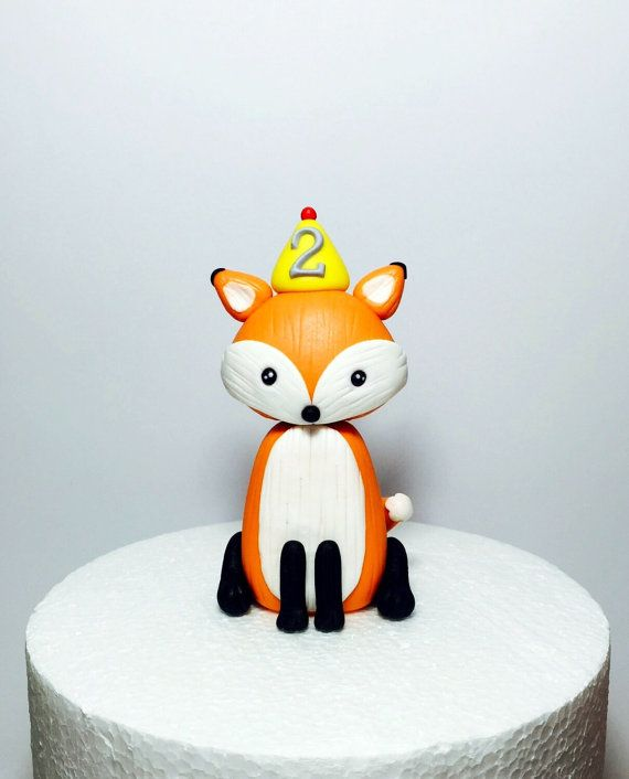 Woodland animal fondant fox baby shower / от SugarDecorByLetty