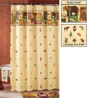 New Fabric Log #cabin Shower Curtain Moose Bear Camping Trip #woodland  #northwood,