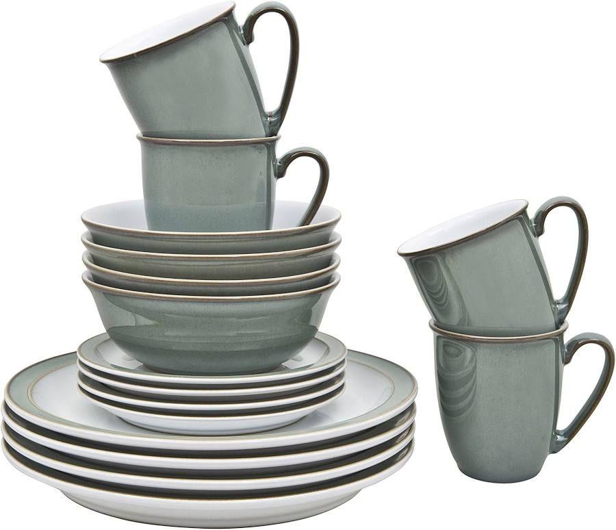 Denby Regency Green 16 Piece Tableware Set 2020 Tableware Set Green Plates Sugar Bowl Set