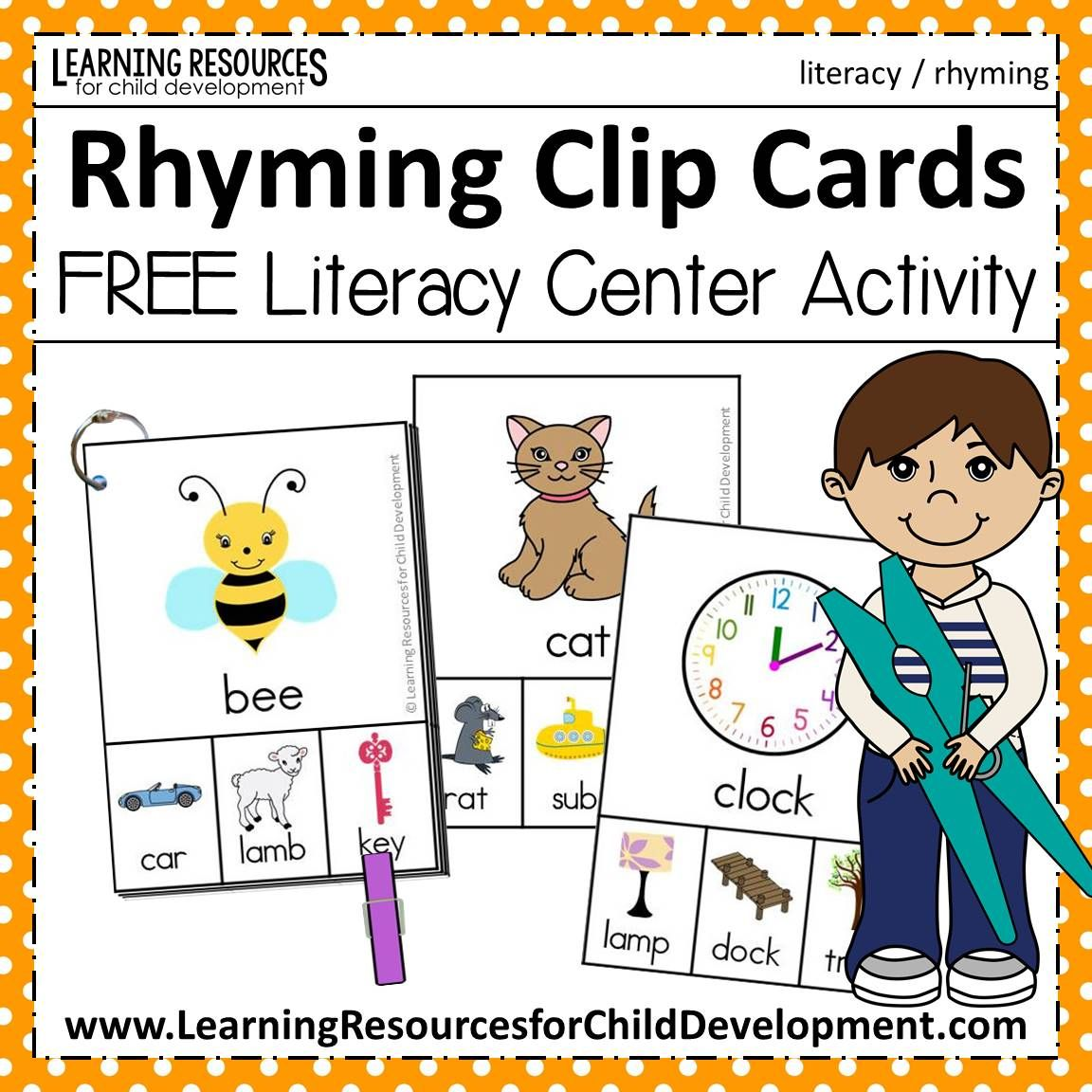 Rhyming Clip Cards - CVC Words And More