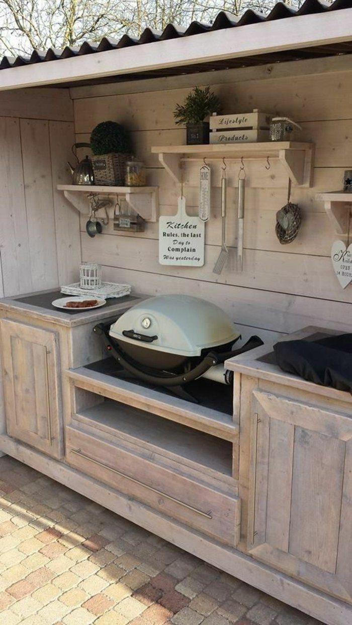cuisine d t couverte en bois barb cue style rustique id es pour le jardin kitchendesign. Black Bedroom Furniture Sets. Home Design Ideas