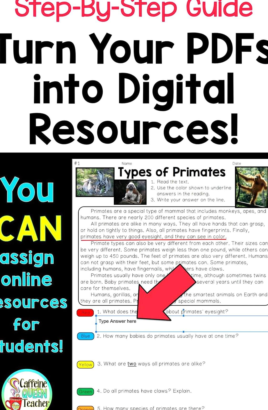 Turning a worksheet or PDF into a digital resource for
