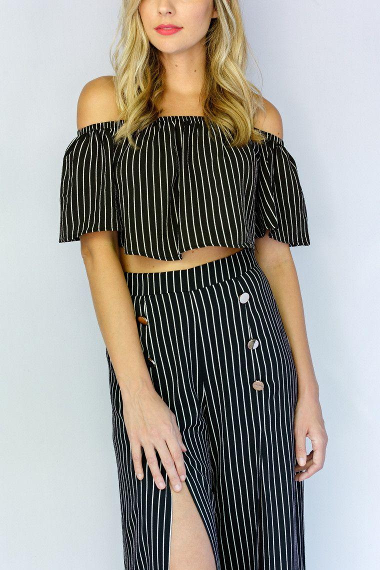 Novana Striped Crop Top - {a} haley boutique